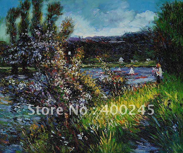 Landscape art Reproduction The Seine at Chatou by Pierre Auguste Renoir Painting on canvas 100%handmade