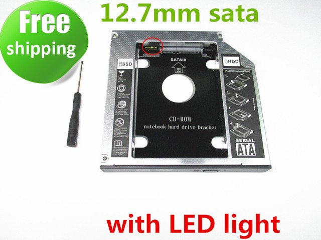 2nd SSD HDD HD Hard Disk Driver Caddy SATA for 12.7mm CD / DVD-ROM Optical Bay Universal caddy