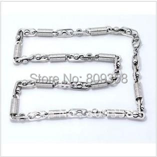 Fashion Jewelry Thickness 6.5mm Stainless Steel Necklace Silver Spring Strip Bead Men's Couple Chain Necklace 1005