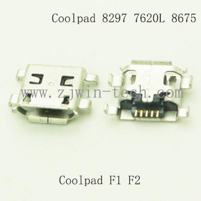 10PCS or 100PCS/PACK Micro 2.0 connector USB jack for phone charging used for Coolpad 8297/7620L/8675/F1/F2