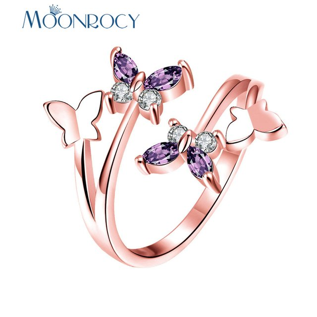 MOONROCY Cubic Zirconia Rose Gold Color Purple Crystal Rings Butterfly for Women Gift Drop Shipping Fashion Jewelry Wholesale