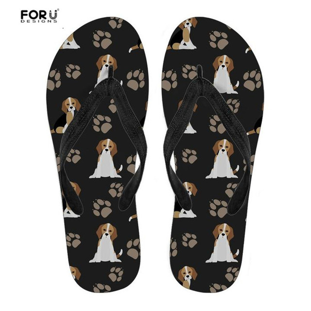 FORUDESIGNS Rubber Slippers Lovely Animal Beagle Dog Print Black Summer Beach Flip Flops Women Casual Home Lightweight Sandals
