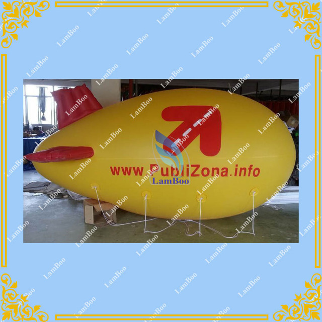4m/13ft Long Yellow Inflatable Red Fins Airship Blimp Zeppelin with your LOGO for Different Events