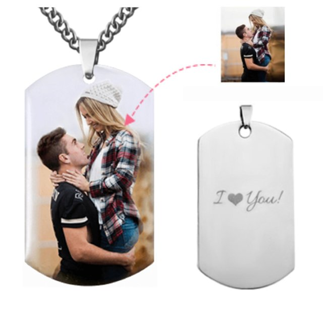 Custom Color Photo Necklace with Letter Name Men's Military Army Style Titanium Steel Necklaces Picture Dog Tag Pendant Chain