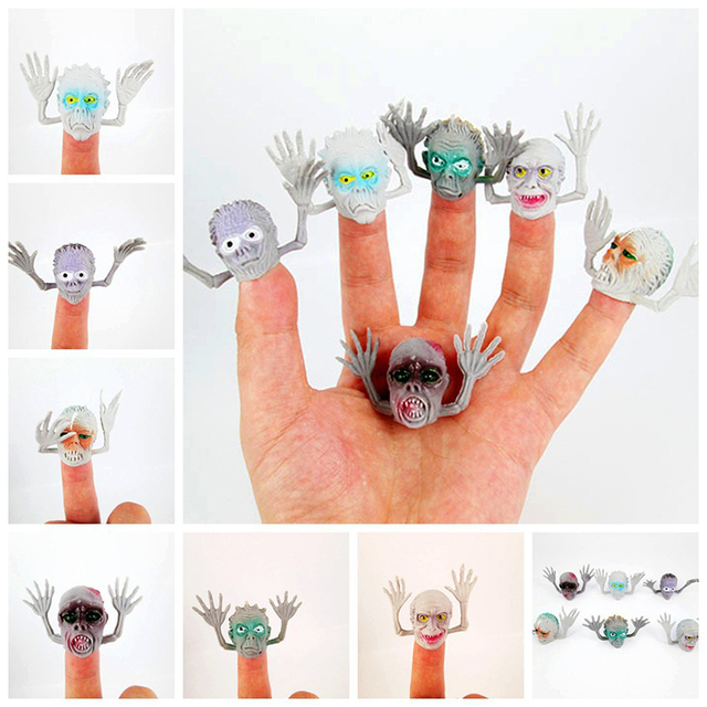 6 pcs/lot PVC Finger Ghost Puppets Mini Baby Toy Finger Puppets Educational Story Hand Puppet Doll Toys