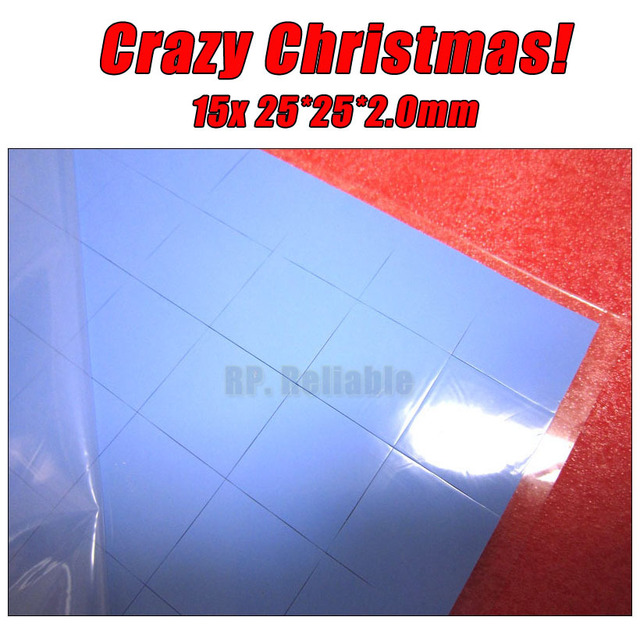 Crazy Promotion! 15x 25*25*2.0mm 2.5cm*2.5cm Soft Silicone Thermal Pads for LED HP Dell Lenovo Acer Asus Heatsink GPU IC Cool