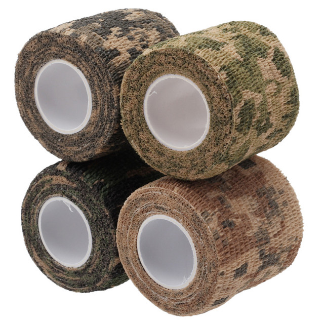 4Pcs Reusable Tensile Elasticity Tape Camo Hunting Camping Hiking Camouflage Stealth Waterproof Decor Repair Tape Party Supplies