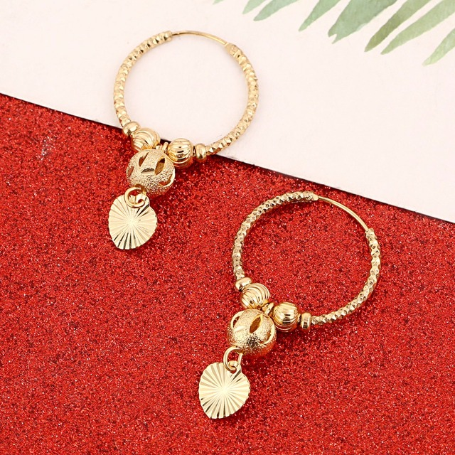 Bead Heart Round Ball Earrings Stud for Women Girls Jewelry Africa Middle East Jewelry Gift