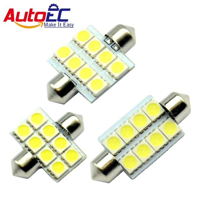 AutoEC 10x Festoon 8 SMD 5050 light  36mm/39mm/41mm Car Reading Light 12V #LK08