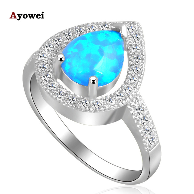 Wholesale Retail Wonderful Water drop Blue fire Opal stamp Silver Rings fashion Opal jewelry USA size #7#8#9#10 OR612A