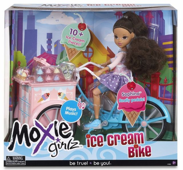 Hsb-toys MGA MOXIE GIRLZ Friends Doll 26cm Ice Cream Bike paly music with Sophina really pedals stackable ice cream cones