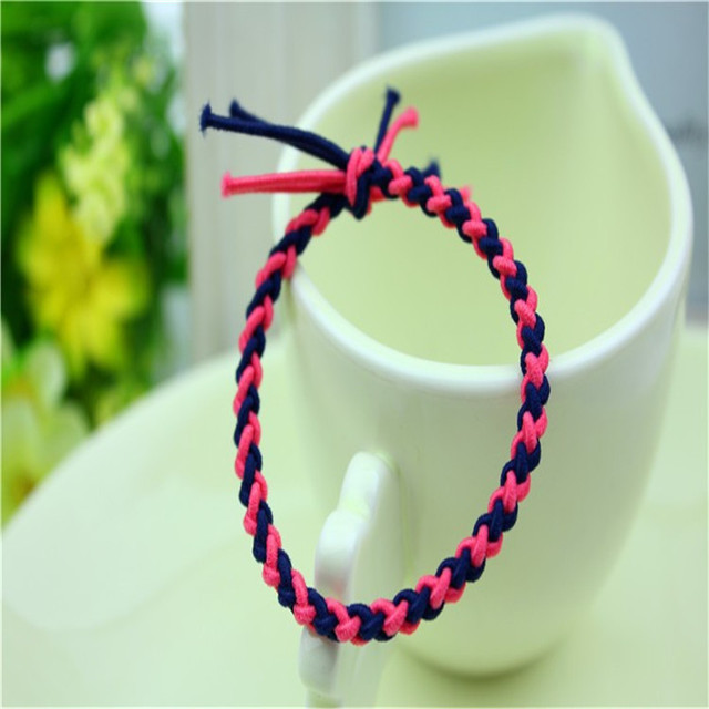 South Korea Manual weave colorful  elastic hair rope hair bands paragraphs  wholesale 10pcs/lot