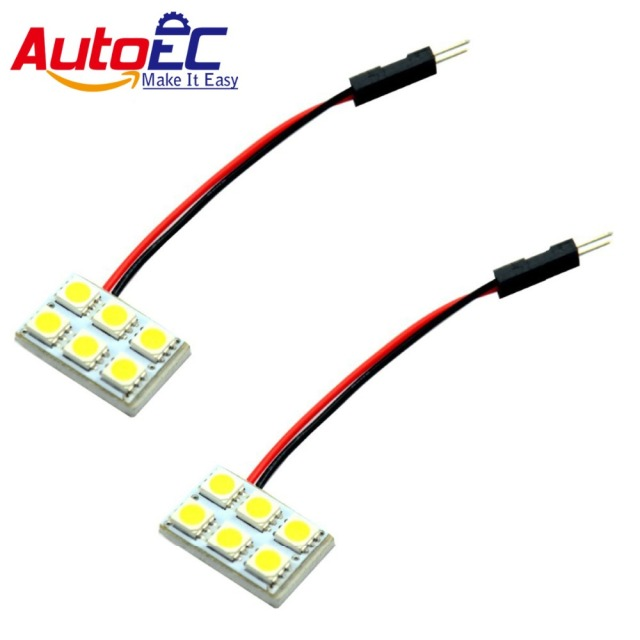 AutoEC Car Dome Panel Light 6 SMD 5050 LED Roof Reading lights 12V with Festoon T10 Ba9s adapter 100X #LL07