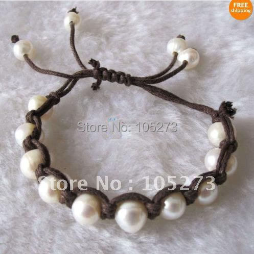 Stunning!6''-8''inchs AA 8-9MM White color Genuine Freshwater Pearl Bracelet Coffee Wax Rope Fashion Girl's Woman's bracelet
