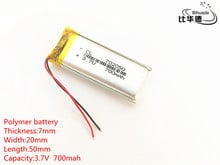 Free shipping 1pcs/lot 3.7V 700mAh 702050 Lithium li-Polymer LiPo Rechargeable Battery For GPS,mp3,mp4