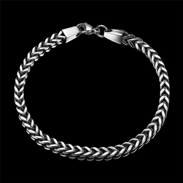 Vintage Punk Rock Jewelry Stainless Steel Bracelets Bangles Men Link & Chain Metal Bijoux Men Bracelet Accessories For Male