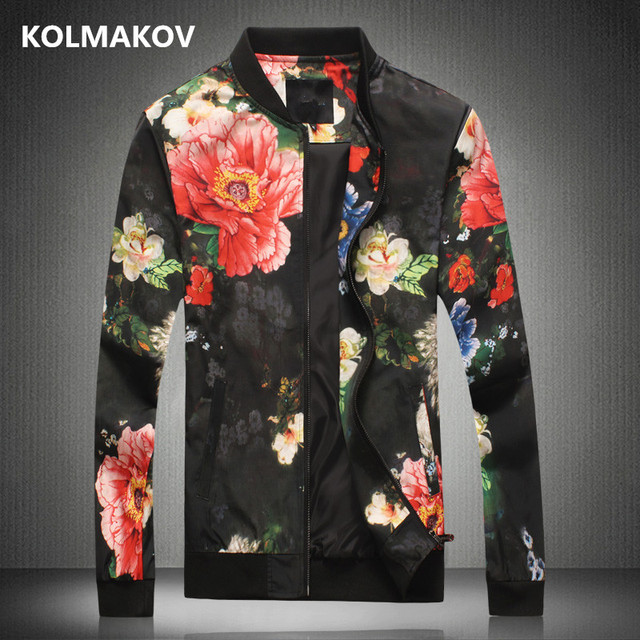 Fashion Bomber Jackets Men Casual Flower Printing Windbreaker Homme Slim Fit Autumn Clothes Hip Hop Jacket Masculino Outerwear