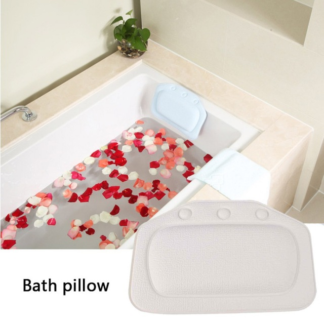 Bath Pillow with Suction Cups Supports Neck and Shoulders Soft /& Relaxing