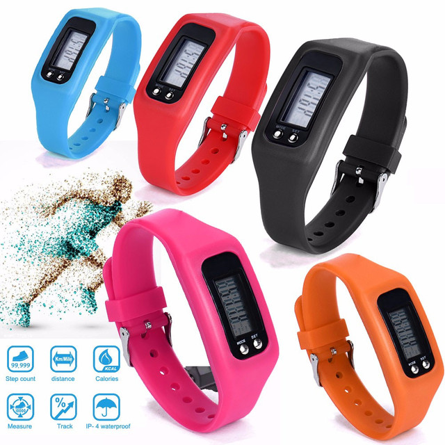 10 Colors Multifunction Digital LCD Pedometer Fitness Run Step Calorie Walking Distance Counter Watch Outdoor Sports Bracelet