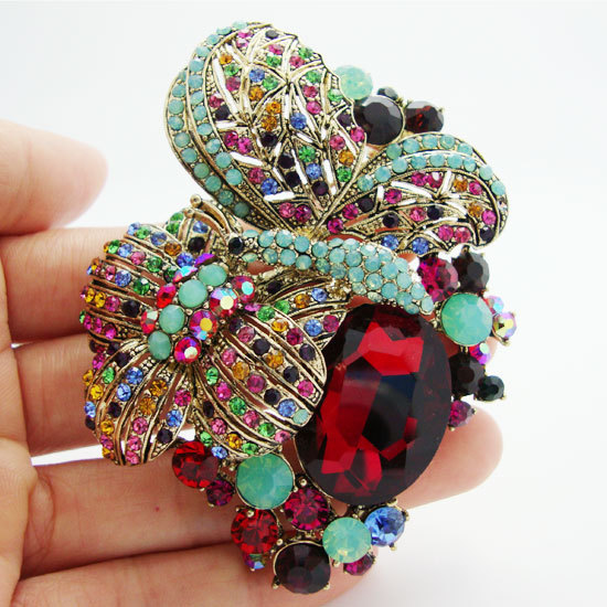 Free Shipping Vintage Style Butterfly Flower Colorful Rhinestone Crystal  Gold-Tone Brooch Pin Rhinestone Flower Brooch