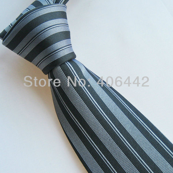 Yibei Men's Slim ties 100% Silk Tie Silver With Black Vertical Stripes Necktie WITH DUPONT TEFLON FABRIC PROTECTOR