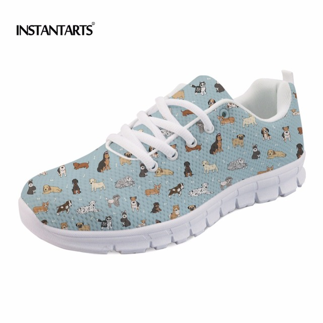 INSTANTARTS Cute Puppy Doodles Pattern Women Flats Shoes Fashion Breathable Spring/Autumn Light Sneakers Casual Mesh Flat Shoes