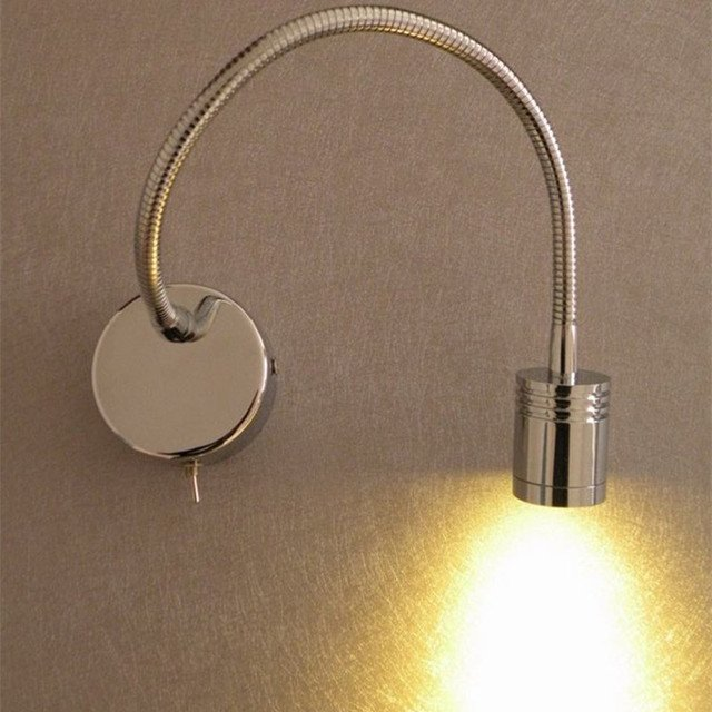 Topoch Up and Down Wall Lights for Bedroom Camper Boats Reading Switch on/off Aluminum Pipe AC100-240V DC12-24V Polished Chrome