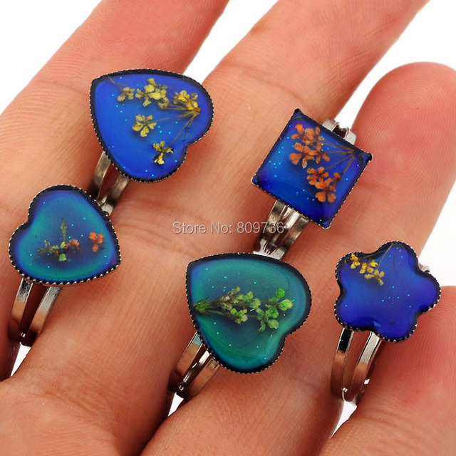 Mix Lot 100pcs Chang color mood rings adjustable women rings Wholesale Love Heart Jewelry wave ring [MDR13*100]