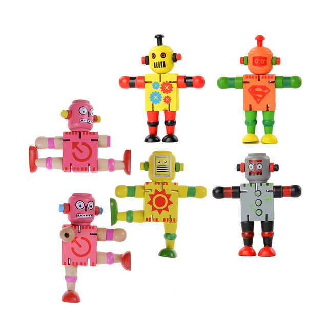 Wooden 1 Pc Transformation Robot Puzzles Kids Toys Early Educational Intelligence Birthday Gifts For Children Boys