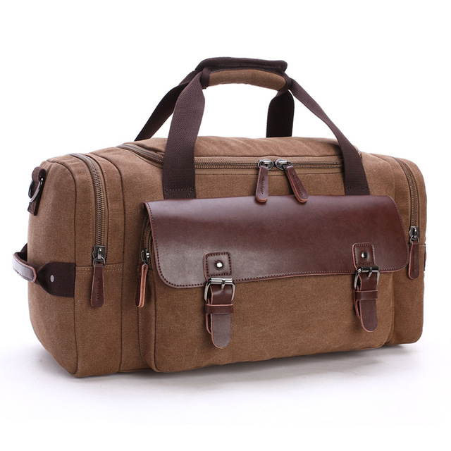 Vintage Canvas Leather Men Travel Bags Carry on Luggage Bag Men Duffel Bags Travel Tote Large Weekend Bag Overnight Male Handbag