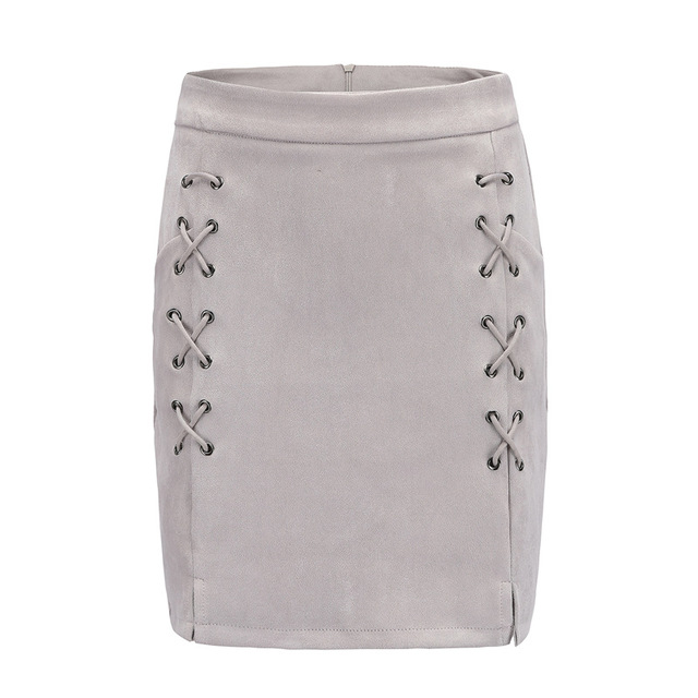 Perhaps U Autumn lace up leather suede penci Winter cross high waist Zipper split bodycon short high street skirts S0002 Gray