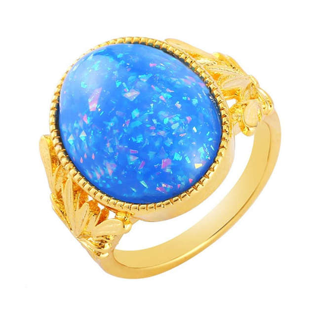 Luxury Blue Imitation Fire Opal Anel Gold Rings for Women Fashion Jewelry Wedding Anillos Engagement Ring Gifts