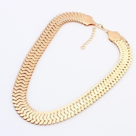 High Quality Gold Color Chunky Chain Necklace Women New Collar Fashion Vintage Chokers Necklace Accessories fine jewelry