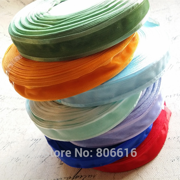 ( Plz Choose 1 Color ) 20MM 50Yards Silk Ribbon Riband Webbing & Jewelry DIY Accessories