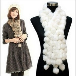 Holiday Sale women's scarf Rabbit Pompom Fur Scarf hotsale Free shipping