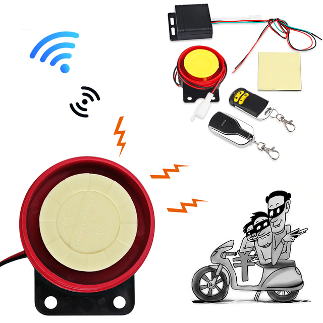 Urbanroad 12V Motorcycle Burglar Alarm Motorbike Bike Scooter Lock Anti-theft Security Alarm System with Remote Control key