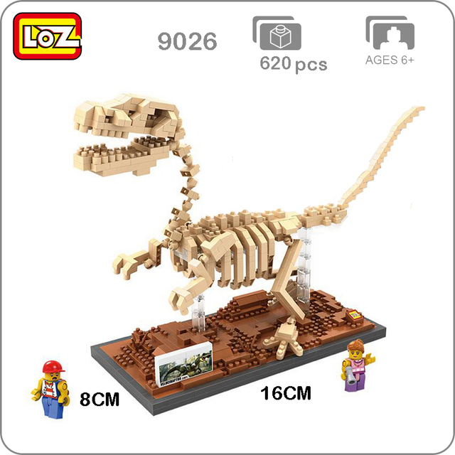 LOZ 9026 Velociraptor Fossil Dinosaur Skeleton Monster DIY 3D Model Small Blocks Brick Diamond Mini Assembly Building Toy no Box