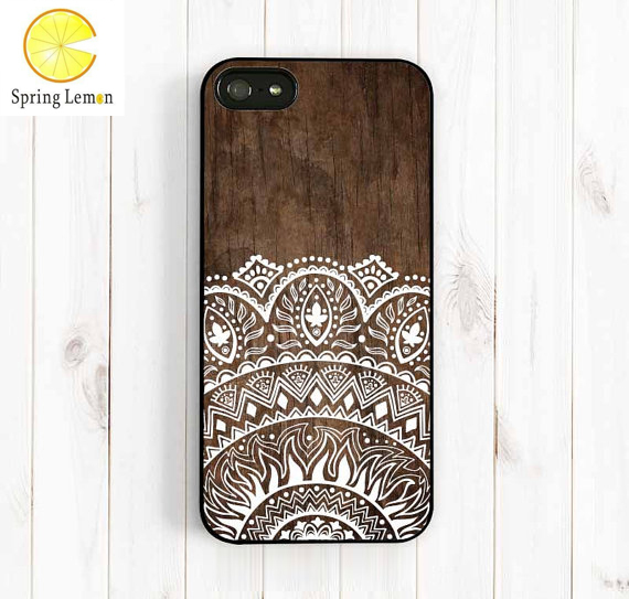 Imitation Wood Lace Ethnic Patterns Protective Shell Cell Phone Hard Case Cover For iPhone 4/4s/5/5s/5c/6/6plus/7/7plus