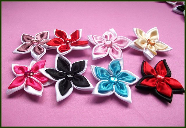 4cm 20pcs/lot 40pcs Satin Ribbon Flower with Crystal Bead Appliques for Garment Accessories And Girl Hair  Decoration