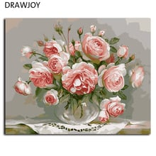 Frameless Picture Painting By Numbers DIY Canvas Oil Painting Home Decor Of Flower For Living Room Wedding Decor G436