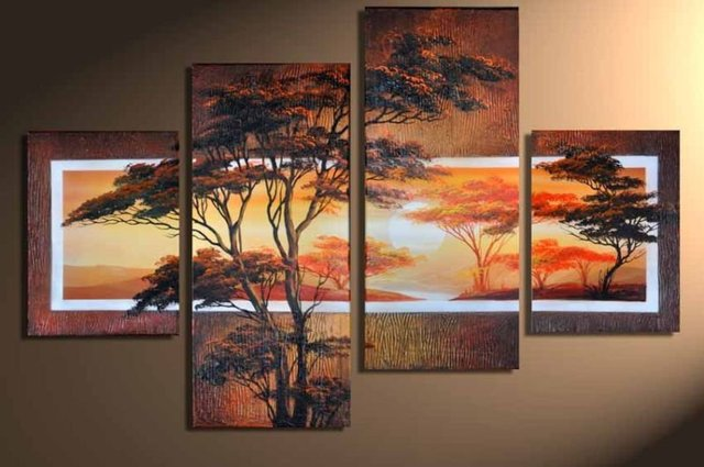 hand-painted Beautiful woods High Q. Home Decoration Modern Landscape Oil Painting on canvas  4pcs/set wood framed mixorde