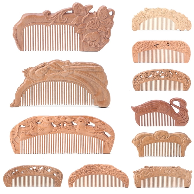 1Pc Natural Peach Wood Healthy No-static Massage Hair Wooden Comb Health Care 9 Sizes Comb