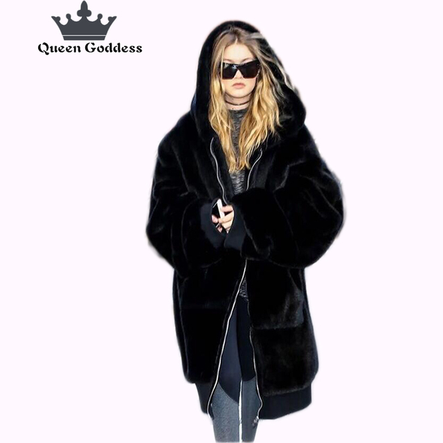 2017 new winter loose imitation faux fur coat hooded women long section of artificial wool thickening warm wool jacket fur vest