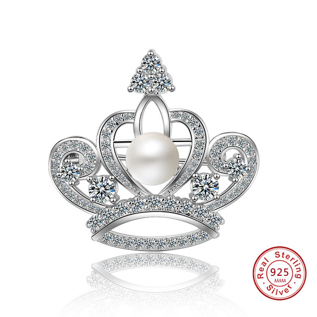 New Simple Style S925 Princess Crown sterling silver Brooches for Women Scarf Tie Clother Wedding Buckle Brooch Pins Jewelry