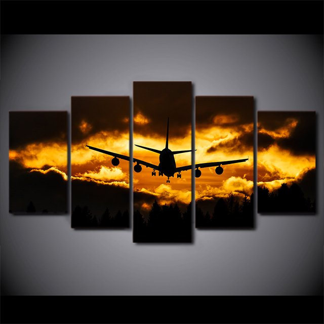 5 Pcs HD Printed Sunset Airplane Wall Art Pictures Modular Canvas Home Decor Painting HD Printed Nordic Vintage Poster