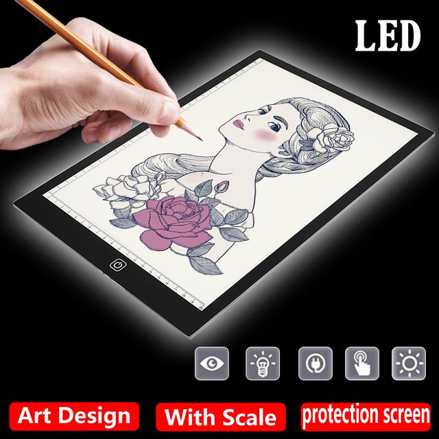 A4 LED Drawing Tablet With Scale Digital Graphic Tablets Electronic Writing Painting Light Box Tracing Copy Board Pad For Kids