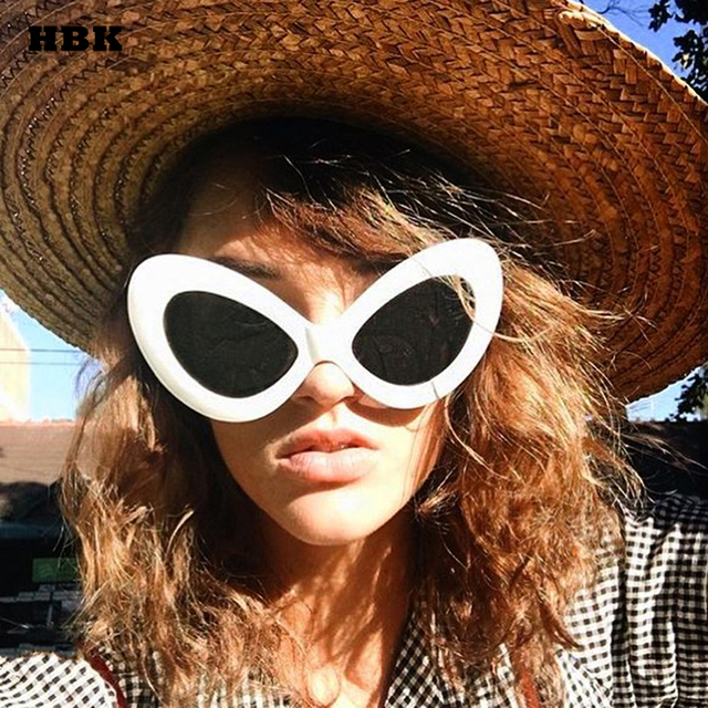 HBK Sexy Oversized Cat Eye Sunglasses 2018 Butterfly Frame Women Black New Vintage Sun Glasses Top Fashion Goggle Red Pink Lady