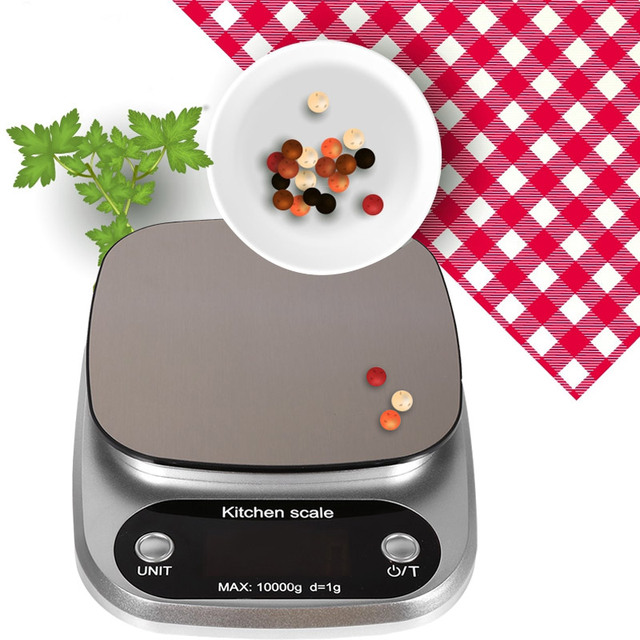 Stainless Steel Kitchen Scale Mini Scale Digital Scale Portable Practical 10kg/1g Food Calculation Scale