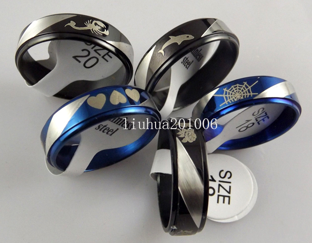 Wholesale 50 pcs black bule mix Jewelry lot stainless steel rings