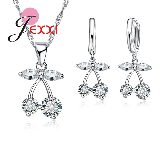 Girls Favorite Sweet Fruit Cherry Shape Crystal Pendant Fashion Woman Jewelry Set Top Quality 925 Sterling Silver
